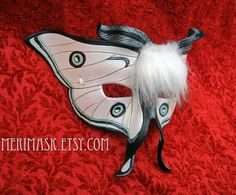 READY TO SHIP White Moth leather mask ...  fantasy butterfly fairy fae mask costume halloween mardi gras masquerade burning man