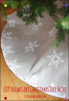 ee79cf04d DIY Snowflake Christmas Tree Skirt | Learn how to stencil with cooler paper  and make this