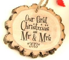 Newlyweds First Christmas Holiday Ornament - Wedding Gift - Couple's Frist Christmas - Reclaimed wood -Wedding Gift - Little Wee Ornament Modern Christmas Ornaments, Rustic Christmas, All Things Christmas, Holiday Fun, Christmas Holidays, Christmas Decorations, Wood Ornaments, 1st Christmas, Happy Holidays