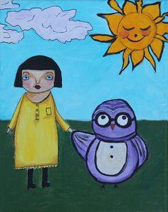 US Outsider Art Artist Paintings Outsider Art, Artist Painting, Folk Art, The Outsiders, Original Paintings, Owl, The Originals, Garden, Life
