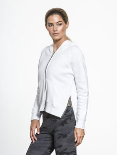 Side Zip Hoodie by SUNDRY in White