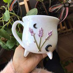 Ceramic Pottery, Ceramic Art, Coffee Cups, Tea Cups, Mug Design, White Witch, Witch Aesthetic, Cute Mugs, Lavender Flowers