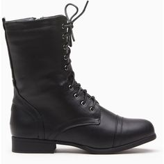 CiCiHot Black Faux Leather Lace Up Combat Boots (225 EGP) ❤ liked on Polyvore featuring shoes, boots, ankle booties, black lace-up boots, black army boots, army boots, military boots and faux leather booties