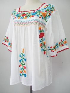 Embroidered Mexican Blouse Sleeve White Cotton by chokethai Mexican Blouse, Mexican Dresses, Hippie Tops, Boho Tops, Kurta Cotton, White Kurta, Dresses Kids Girl, Embroidered Tunic, Peasant Blouse