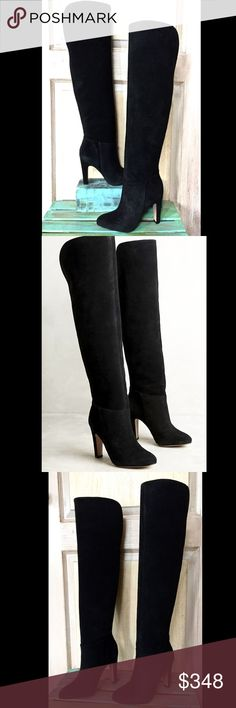 "Anthropologie Suede Over The Knee Pull On Boots Anthropologie Candela black Suede Tall Over The Knee Pull On Boots 5.5"" slit opening in back of top of boot for comfort pull on styling  * leather lined* padded footbed * leather sole New In Box  *   retail price:  $368.00  * runs true to size   4"" suede covered heel 19"" shaft  14"" top circumstance Anthropologie Shoes Over the Knee Boots"