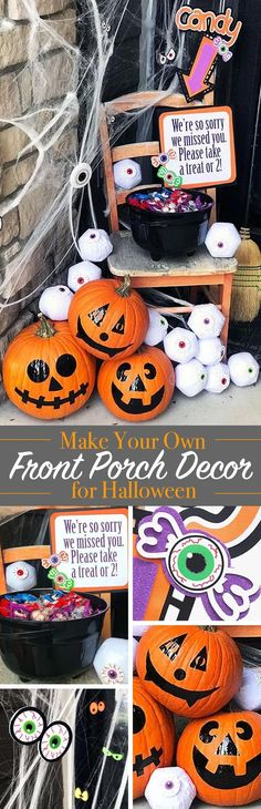 Make your own Halloween Front Porch Decor with Candy Bucket - this tutorial includes multiple project ideas and free SVG files you can use. Make a candy bucket, door decor, decorated pumpkin faces and more! Project designs by Jen Goode