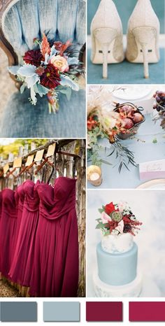 Sep Weddings burgundy and dusty blue september fall wedding color palettes 2015