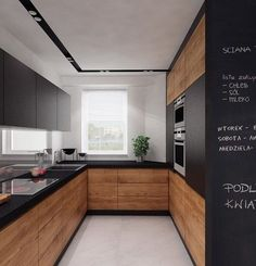 There is no question that designing a new kitchen layout for a large kitchen is much easier than for a small kitchen. A large kitchen provides a designer with adequate space to incorporate many convenient kitchen accessories such as wall ovens, raised. Farmhouse Kitchen Decor, Home Decor Kitchen, Kitchen Furniture, New Kitchen, Kitchen Wood, Kitchen Ideas, Decorating Kitchen, Kitchen With Wood Cabinets, Kitchen Layout Plans