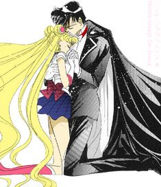 Sailor Moon and Tuxedo Mask by ~MoonPrincessNikoru I love these two because how many times did they get separated and then desperately go after each other to be together again? LOTS!