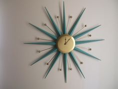 Sunburst Atomic Era Wall Clock My mother-in-love had one of these in her den, on her paneled wall.loved her dearly Mid Century House, Mid Century Style, Mid Century Design, Sunburst Clock, Atomic Decor, Retro Clock, Mid Century Modern Decor, Retro Furniture, Furniture Ideas
