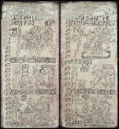 "Rituals at the beginning of the New Year    ""The Dresden Codex was written by eight different scribes using both sides. They all had their own particular writing style, glyphs and subject matter. [..] Its images were painted with extraordinary clarity using very fine brushes. The basic colors used from vegetable dyes for the codex were red, black and the so-called Mayan blue."""