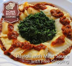 Home Bistro Ravioli with Meat Sauce Prepared Meal Delivered Nationwide with Free Shipping. Get Your Coupon and See the Whole Menu! http://www.prepared-meals.com/Meal-Delivery-Services/Home-Bistro-Reviews.html