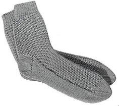 Mens Socks knit pattern originally published in 2 Needle Socks, Doreen Knitting Vol 106.