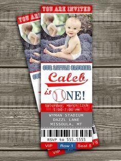 Baseball Ticket Birthday Invitation - FREE thank you card included. $15.00, via Etsy.