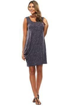 Vigorella Leaf Singlet Dress in black marle - Womens casual Dresses - Birdsnest Online Fashion
