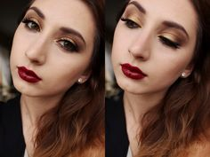 Golden make-up with wine lips