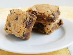 Peanut Butter + Chocolate Brownies (Guilty Pleasure)  These came out so delicious.  Next time I may try replacing the white sugar with truvia and cutting the choc chips to 3/4 cup.  Recipe made 12 bars, 1 bar = 365 calories. -- Ingredients:  Chocolate Chips.