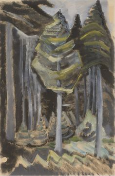 Untitled, 1931-32, charcoal, oil. Emily Carr. VAG 42.3.157 Emily Carr, Group Of Seven, Canadian Artists, Charcoal, Paintings, Oil, Paint, Painting Art, Painting