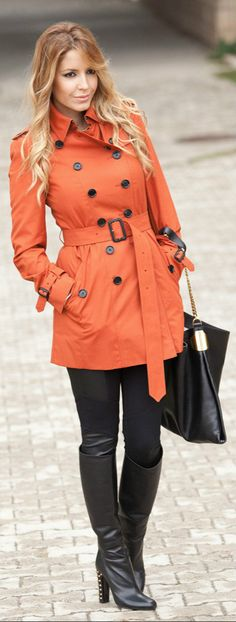 Burberry trench coat,  Gucci bag and boots,  BCBG pants.