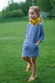 Girls blue linen summer dress with long sleeves handmade