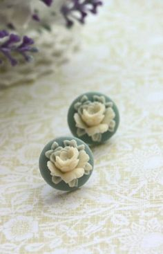 blue and ivory rose studs