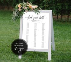 Editable PDF Seating Chart Find Your Table Calligraphic Wedding Seating Chart Template DIY Seating Board Table Printable Sign #DP110_58 by DreamPrintable on Etsy  #wedding #instant #download #printable #image #graphic #digital #reception_sign #PDF #Calligraphy #Sign #events #wedding_printable #wedding_design #Template #wedding_ceremony #wedding_sign #events_design