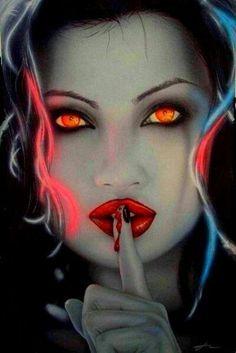 Devil, vampire and werewolf # 1872 Art Vampire, Vampire Love, Female Vampire, Vampire Fangs, Gothic Vampire, 3d Fantasy, Fantasy World, Dark Fantasy, Dark Side