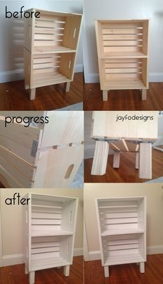 DIY bookcase, night stand, or storage - super easy!  Crates from Joann's $8.99 with coupons = $18.00 - legs and brackets from Home depot, each leg $2.98 each bracket $2.98 = $24.00 - metal brace 4 for $1.98.  Total $42.00   1. attached brackets and legs to bottom crate.  Screw in with slightly smaller screws wood can crack easily. 2 - Use wood glue to secure crates together  3 - add metal braces to backsides 4 - lightly sand and paint!  An easy and affordable way to create storage!