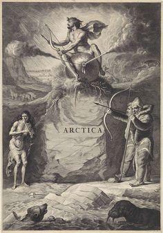 anoniem   Arctisch landschap, rejected attribution Jan de Visscher, 1650 - 1700   Gezicht op een arctisch landschap met een rots waar een man met pijl en boog op een opgeblazen zak waar lucht uit stroomt zit. Op de voorgrond een walrus en een ijsbeer in het water. Aan de waterkant staan twee in bont gehulde mannen en een magere oude vrouw die op een been knaagt. Op de achtergrond enkele poolvossen en ijsberen.