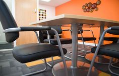 A vibrant colour is a must in a meeting room or boardroom. It can awaken the mind and inspire.  www.jbhrefurbishments.co.uk
