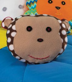 Is your little monkey stuck indoors and ready to snuggle through the winter? Craft'm a warm and cozy monkey fleece pillow for the holidays with this DIY pillow tutorial from Jo-Ann. Fleece Crafts, Fleece Projects, Sewing Projects For Kids, Sewing For Kids, Baby Sewing, Diy For Kids, Sewing Crafts, Craft Projects, Crafts For Kids