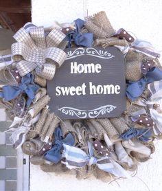 Burlap Wreath, Hanukkah, Sweet Home, Wreaths, Home Decor, Decoration Home, House Beautiful, Door Wreaths, Room Decor