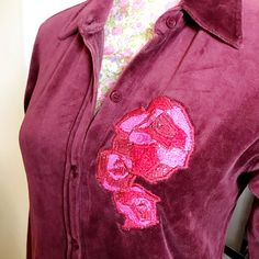Your place to buy and sell all things handmade Embroidered Roses, Cigarette Trousers, Red And Pink, Colorful Shirts, Night Out, Burgundy, Dress Up, Velvet, Leather Jacket