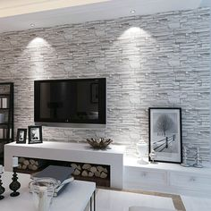 Buy Brief Modern Stereo Brick Stone Tv Background Wall Wallpaper .