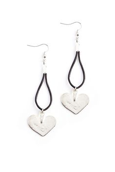 Black Leather and Silver Heart Earrings