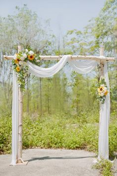 The next series of sunflowers is coming soon, please stay tuned. Rustic Wedding Alter, Birch Wedding, Fall Wedding Arches, Wedding Arch Flowers, Simple Wedding Arch, Wedding Ideas, White Wedding Arch, Wedding Columns, Hay Bale Wedding