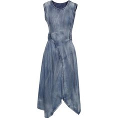 SheIn(sheinside) Sleeveless Asymmetric Denim Dress ($52) ❤ liked on Polyvore featuring dresses, blue, long-sleeve denim dresses, asymmetrical dresses, blue asymmetrical dress, sleeveless knee length dress and blue sleeveless dress