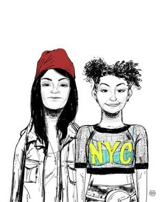Abbi and Ilana of Broad CIty illustration by Denise Tolentino for Inktober 2019 Tags: Abbi Jacobson, Ilana Wexler, broad city series, nyc, women of new york, badass women Abbi Jacobson, Broad City, City Illustration, Badass Women, Inktober, Nyc, Illustrations, York, Tags