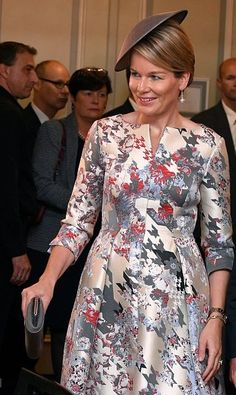 Queen Mathilde inaugurate with King Willem-Alexander of Netherlands (not pictured) the netherlands-flemish pavillon of the Frankfurter Buchmesse.