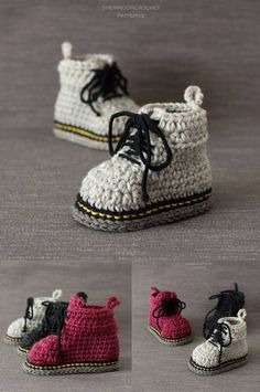 I LOVE this crochet pattern for Doc Marten baby shoes! Crochet For Boys, Crochet Baby Booties, Crochet Slippers, Crochet Gifts, Knit Crochet, Baby Patterns, Crochet Patterns, Handgemachtes Baby, Crochet Converse