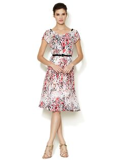 Silk Scalloped Neckline Belted Dress by Carolina Herrera at Gilt