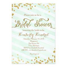 6c3ef6402a1 Mint Green   Gold Wedding Bridal Shower invitation