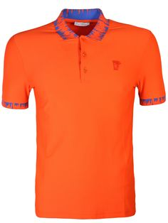 Versace Collection Orange Contrast Collar Polo Shirt - Contrast collar polo shirt from the Versace Collection features a three button placket, contrast blue paint effect collar & cuffs as well as the half medusa head logo on the left chest.