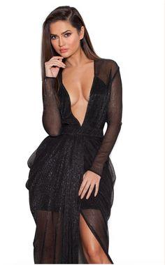 'Blanca' Black Shimmer Sheer Chiffon Maxi Dress - House of CB Chiffon Maxi Dress, Sheer Chiffon, Dresses For Less, Formal Dresses, Max Dresses, Long Dresses, Formal Wear, Hollywood, Red Bandage Dress