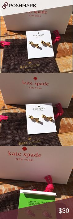 ❣SALE❗️♠️Kate Spade♠️stud bows Gold Bows ♠️Kate Spade♠️stud bows Gold Bows with Kate spade band and box🆕. No Trades! No low balling will be accepted kate spade Jewelry Earrings