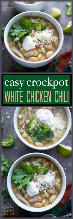 This white chicken chili is the best because of the 15 minute easy prep, the set-it-and-forget-it approach, and the savory, spicy flavors that reward you at the end.