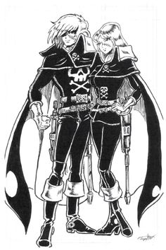 Captain Harlock and Queen Emeraldas by Peter Temple inks by Mark Brown Darth Vader Head, Vader Star Wars, Queen Emeraldas, Space Pirate Captain Harlock, Mark Brown, Sea Of Stars, Robot Cartoon, Star Blazers, Fan Art