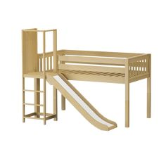 """The perfect intro to a raised bed is now available with a slide platform! Only 50.75"""" tall, our low loft is ideal for small rooms + young children. Platform doubles as entry way to top and is positioned at the bed end so slide starts further back, saving floor space. Childrens Bed With Slide, Low Loft Beds For Kids, Queen Loft Beds, Kids Bedroom Sets, Girls Bedroom, Curved Bed, Cool Kids Rooms, Bunk Beds With Stairs, Bunk Rooms"""