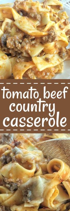 This tomato beef country casserole is packed with all your favorite comfort foods. Tomato, mushrooms, creamy sauce, beef, and tender egg noodles. Comes together quickly, with inexpensive ingredients, but is so delicious and comforting! #beeffoodrecipes #pastafoodrecipes
