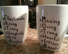 Oil Based Paint Sharpie mugs made for Mom and Dad. Update: decoart glass paint markers don't smudge over time.